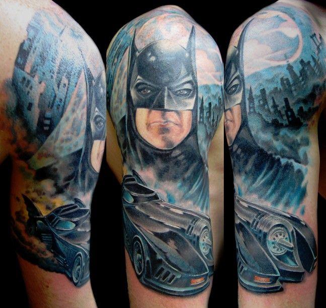Batman tattoo love ink pinterest tim o 39 brien half for Batman sleeve tattoo