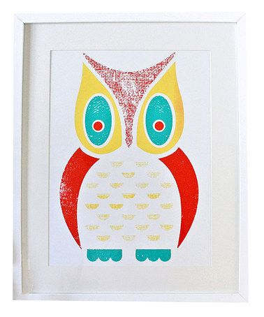 Owl Large Screen Print by sass