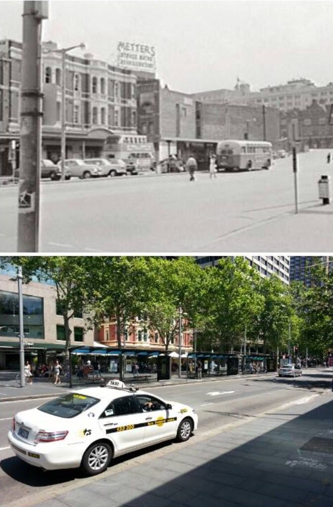Street level in Alfred St at Circular Quay looking west to George Street in…