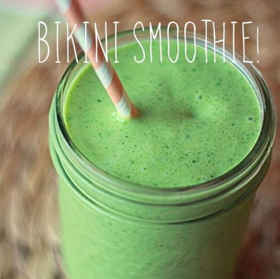 Refreshing Bikini Smoothie!  1 cup raw spinach  1 cup frozen peaches  1 cup frozen pineapples  1 teaspoon organic flax seed  1 teaspoon dried coconut flakes  1 scoop of Perfect Fit Protein  ½ banana (sliced and frozen is best)  1 cup Almond milk  Sprinkle coconut flakes on top and enjoy!