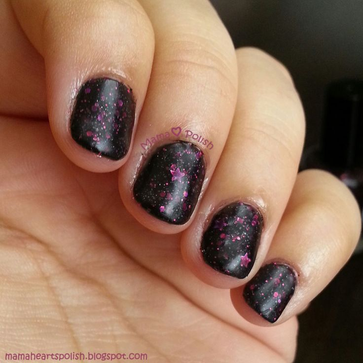 Noodles Nail Polish – Stargazer. A black jelly polish with pink glitters and hol…
