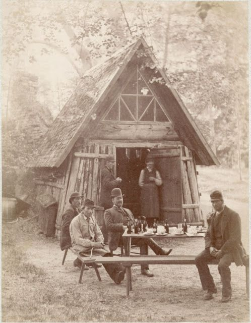 Coffee...and beer. Photograph by Carl Curman.   People at the hermit hut (from the 1820s) in the English park of  Rydboholm Castle outside of Stockholm, Sweden, 1888