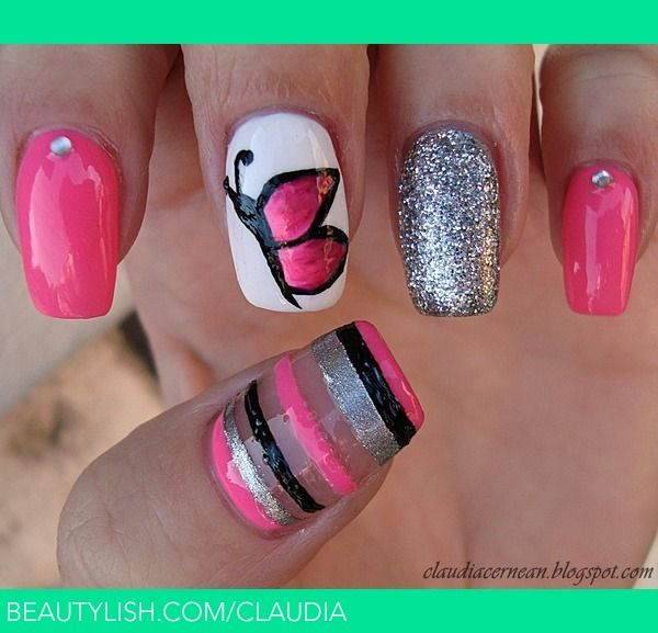24 best Butterfly Nail Art images on Pinterest | Butterfly nail art ...