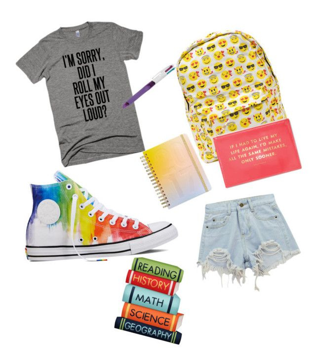 """""""Looking Cool For School"""" by meenypie ❤ liked on Polyvore featuring Chicnova Fashion, Converse, Phillip Gavriel, Kate Spade and ban.do"""