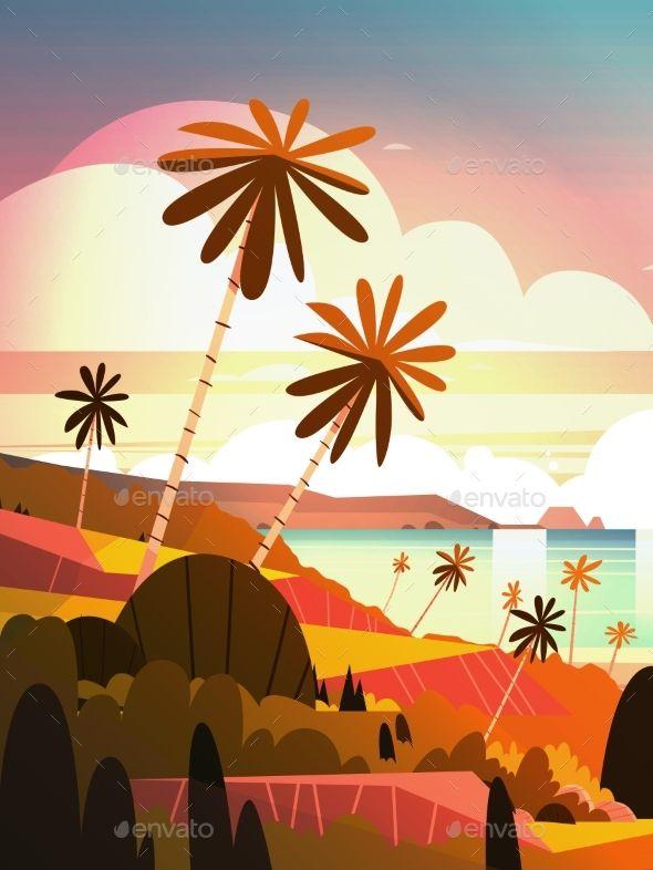 Sunset On Ocean Tropical Landscape Ocean Illustration Landscape Illustration Beach Illustration