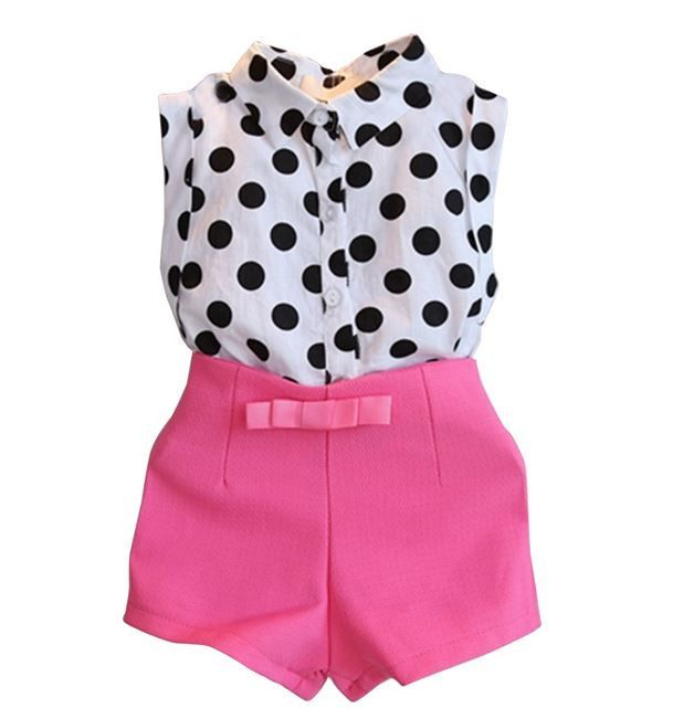 Girls Dotted Sleeveless Shirt + Pink Shorts Set 2pc