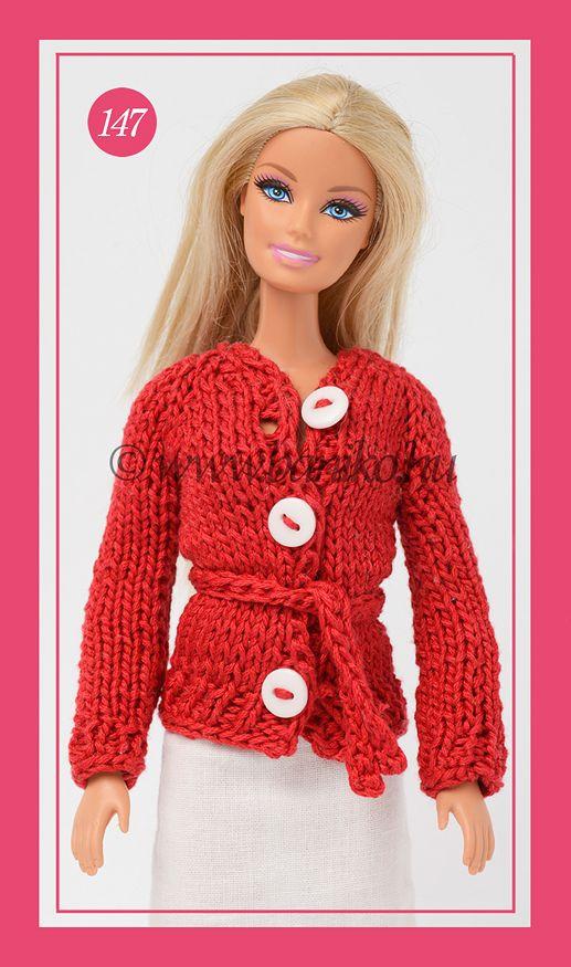 Piros kötött Barbie kardigán igazi fehér gombokkal