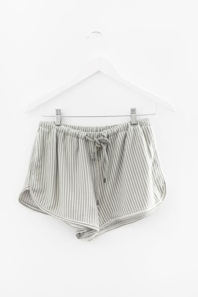 French terry knit sage vertical striped shorts Stretchy and elasticated waistband Adjustable rope drawstring 100% Cotton Imported