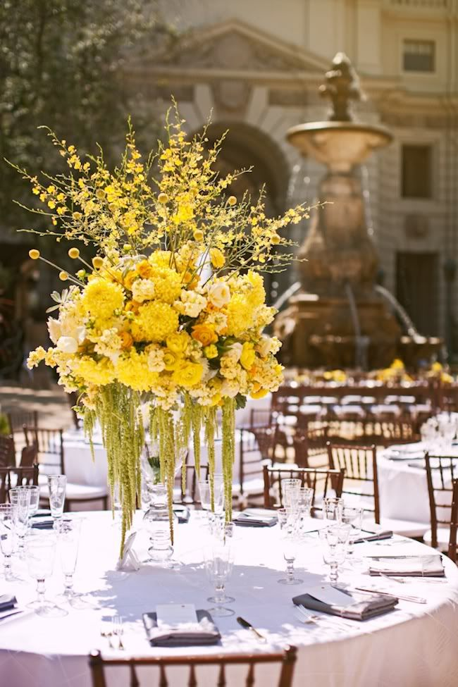 yellow centerpiece... These woulda been perfect for my wedding lol