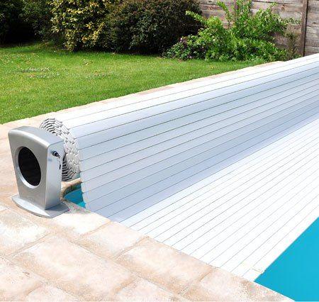 Электрическое сматывающее устройство бассейна  MOON стойки белые-серые 4,5*11,5 м