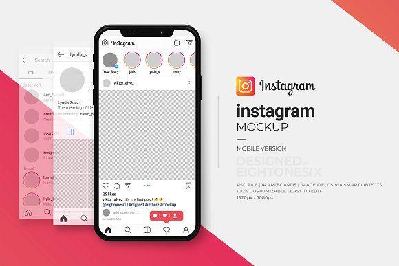 Instagram Mock Up Template Instagram Mockup Instagram Template Social Media Template
