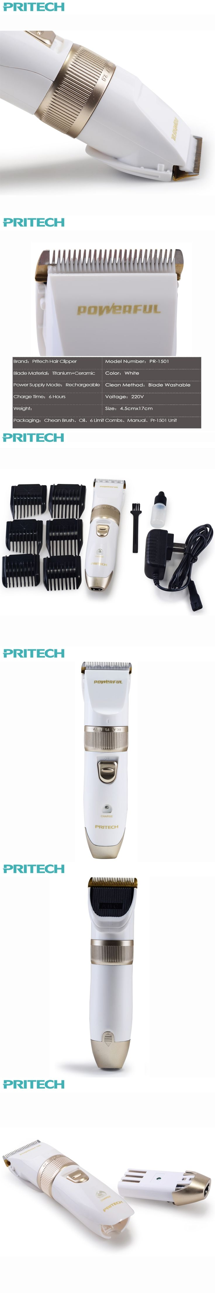 Pritech Electric Hair Trimmer For Men's Shaver Quick Charging Hair Clipper With 6 Limit Comb Hair Cutting Machine#PR-1501