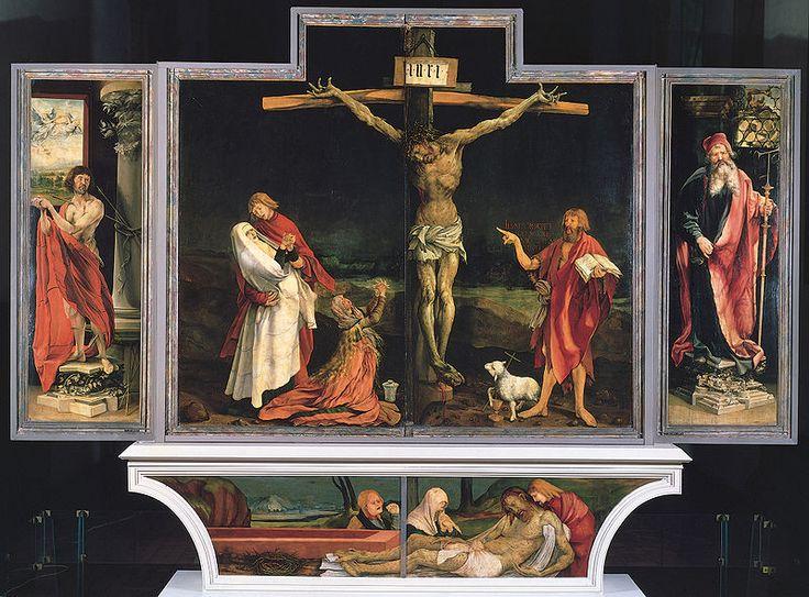 Germany. Isenheim altarpiece.  Jesus Christ crucified, John the Baptist,