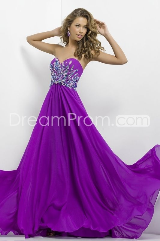 long purple rhinestoned prom dresses
