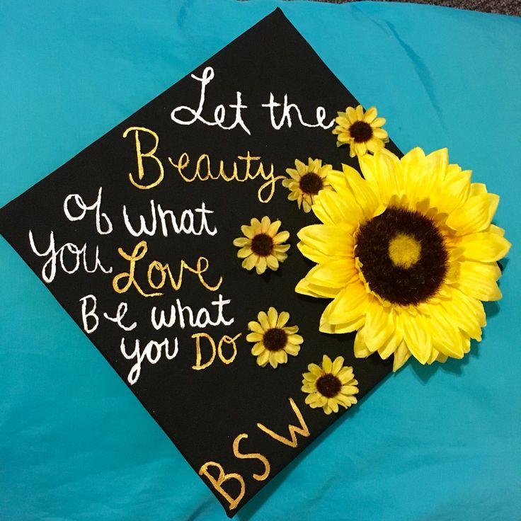 I decorated my graduation cap. I love the result. #grad #caps #sunflower #paint #Rumi #socialwork #college