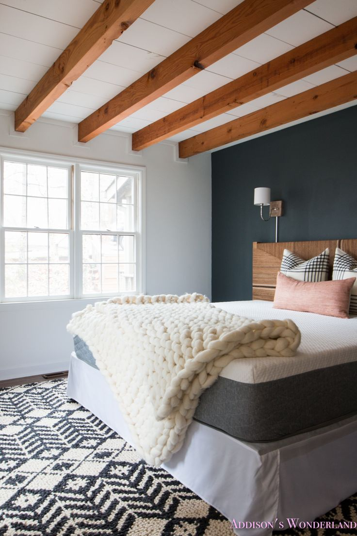 A Peek Inside Our Cabin's Master Bedroom Makeover w/ Serena & Lily!  farrow-and-ball-downpipe-alabaster-sherwin-williams-accent-wall-wood-ceiling-beams-white-cabin-makeover-painted