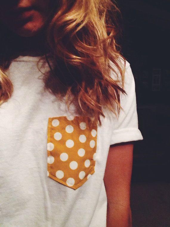 yellow polka dot pocket tee - any size. $18.00 via Etsy