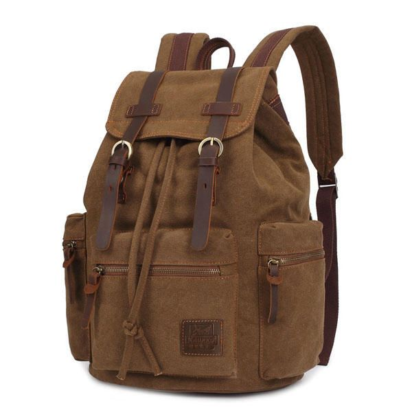 KAUKKO Canvas Genuine Leather Outdoor Big Capacity Shoulders Bag Backpack - US$42.39#men #women  #bags #fashion