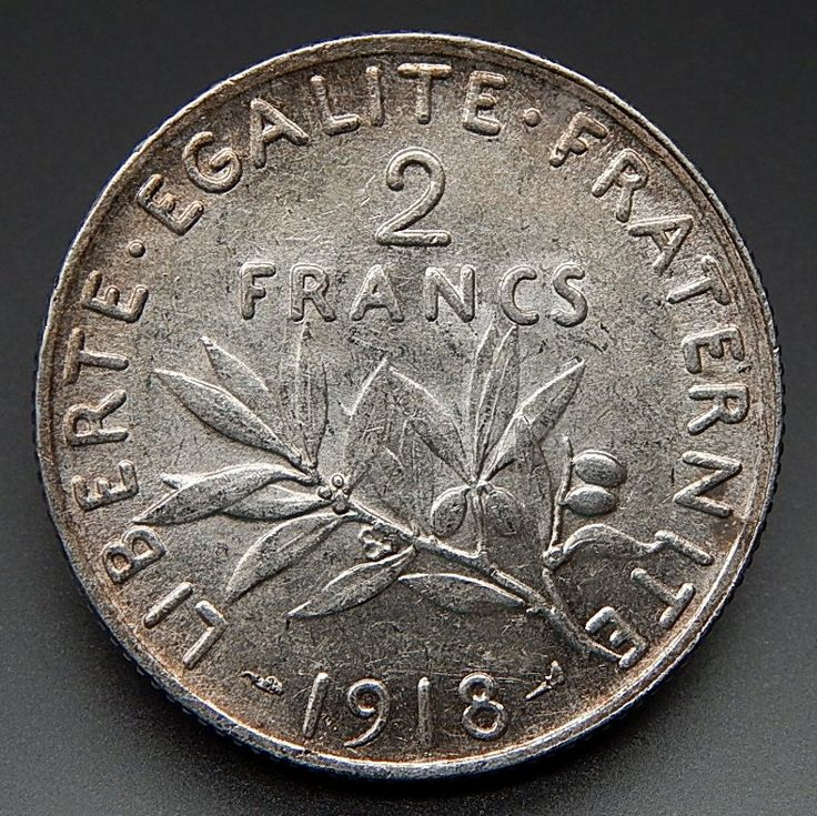 1918 France 2 Francs Nice Collectible Silver Coin
