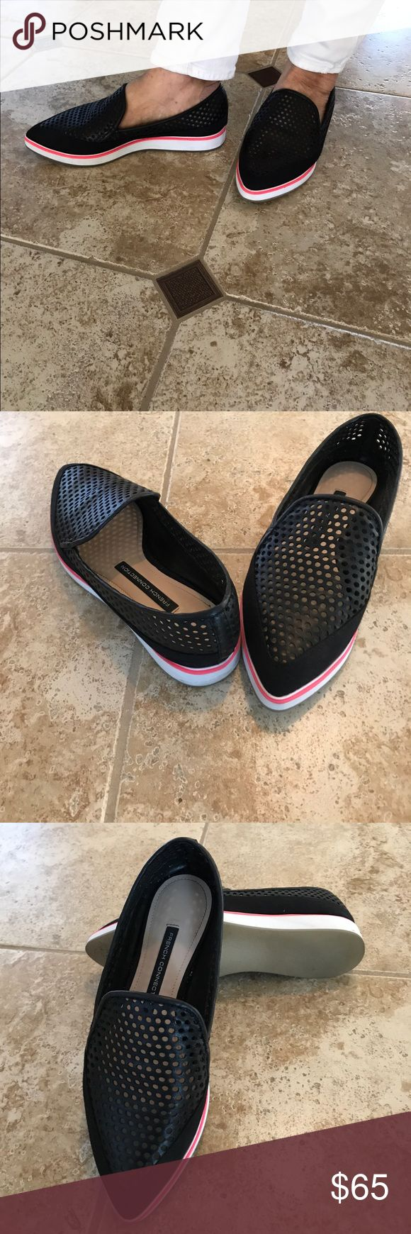 French connection excellent condition shoes Excellent condition French connection leather and fabric flat it's size 61/2 but fits 7 also French Connection Shoes Flats & Loafers