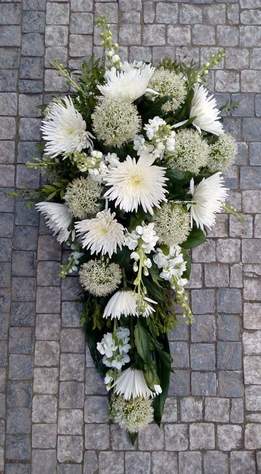 Funeral Flowers White with Chrysanthemum, Alium, Matthiola
