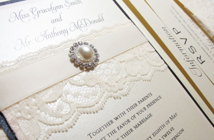 traditional elegant wedding invitations with lace pearls