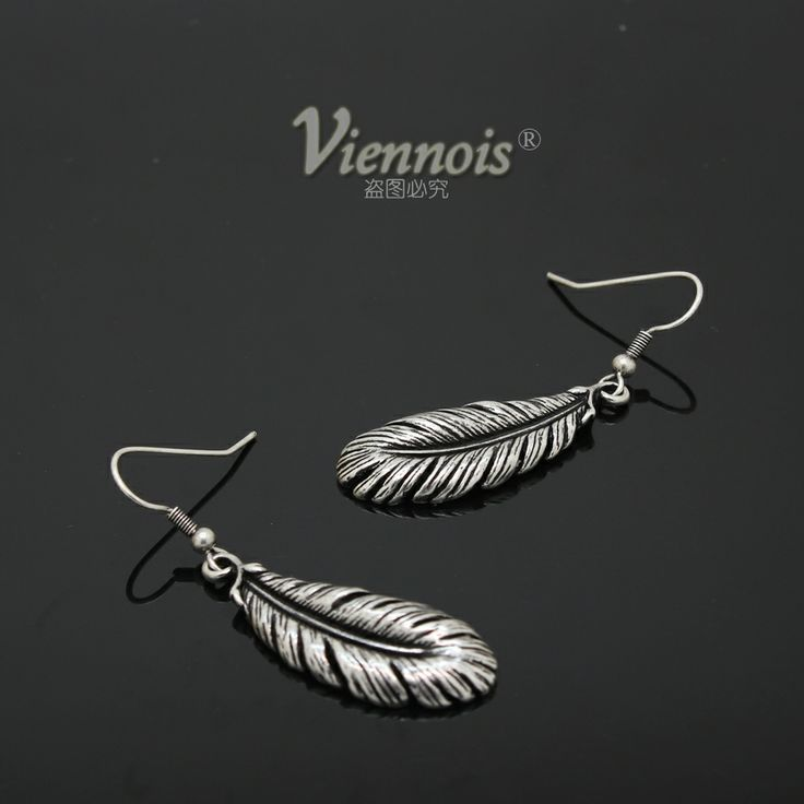 V043207e-001 VIENNOIS feather anti-allergic earrings stud earring accessories $6.11