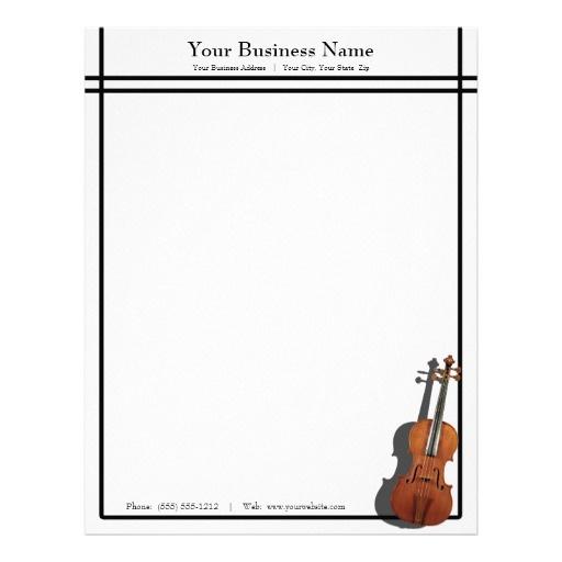 Sleek Lines Violin Music Business Custom Letterhead