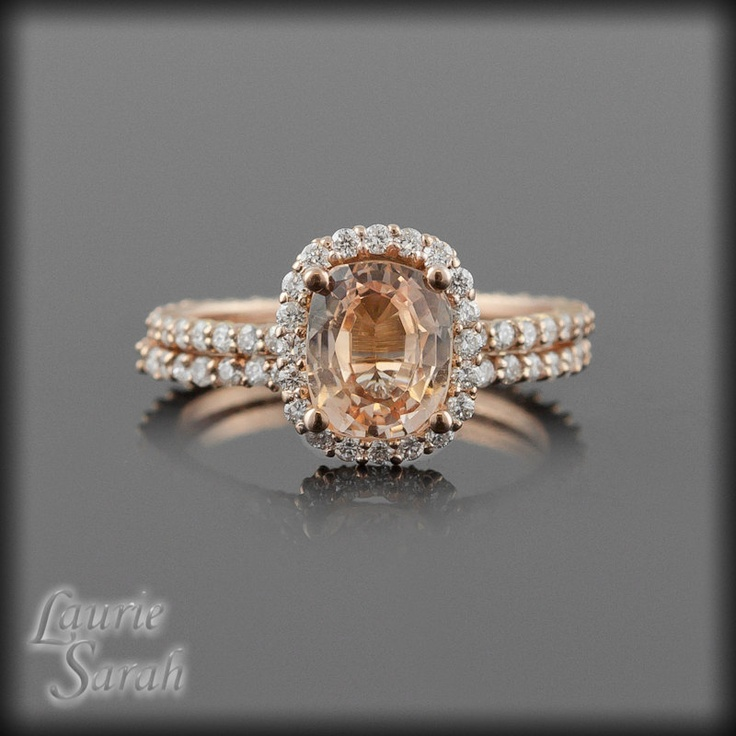 Rose Gold Peach Sapphire Engagement Ring Set with Diamond Halo and Half Eternity Band - LS2506. $4,443.00, via Etsy.