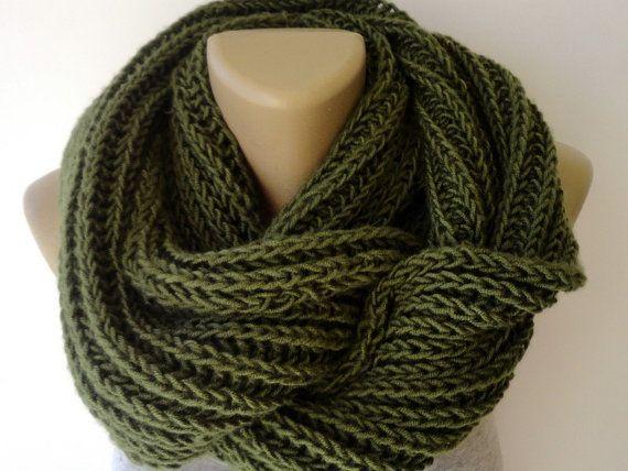 Green Knit infinity Scarves Chunky Knit Scarf Winter Scarf Men