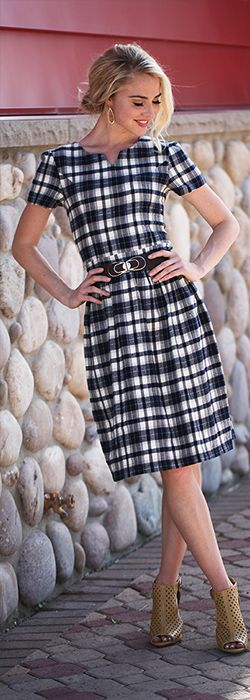 Brooklyn Plaid Dress [MDF4100] - $54.99 : Mikarose Boutique, Reinventing Modesty