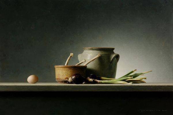 Groene uien met aardewerk en loof