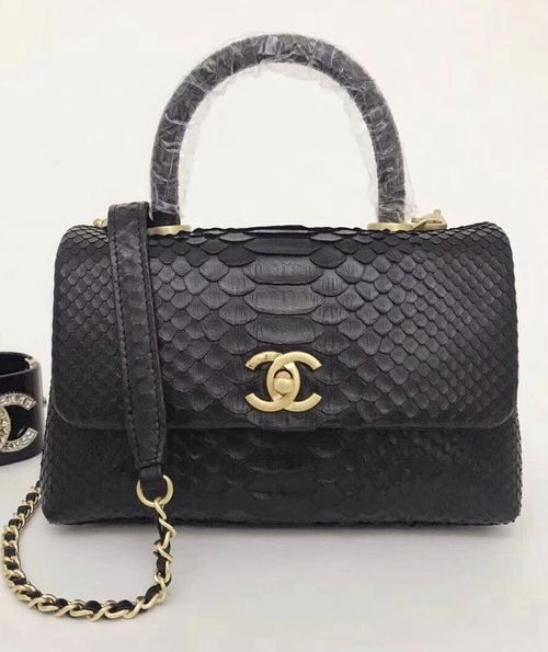 18b129553fc2 Chanel Small Black Python Flap Bag With Top Handle in 2019 | [GROUP ...