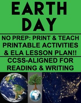 """EARTH DAY NO PREP Lesson Plan and Printable Activities for Earth Day!! Simply Print, Project & Teach this Earth Day. Includes: CCSS-aligned Lesson Plan; Bell Ringer; Earth Day History Article;15 Suggested Activities; """"Plan a Fundraiser"""" Paragraph; Persuasive, Expository, Creative and Acrostic Poem Writing Prompts; and Word Search!! #earthdayactivities #earthdaylessons"""