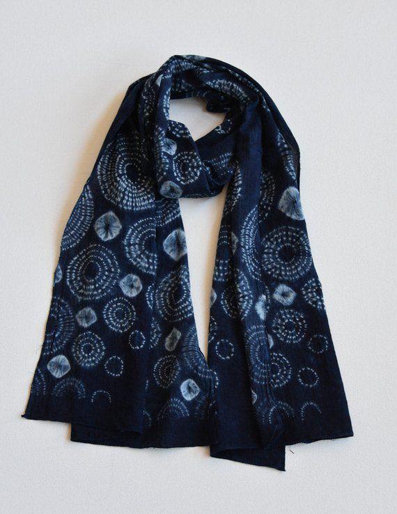 Indigo Subdued Blue Shibori Cotton Scarf Tie Dye Handmade Etsy Shibori Designs How To Dye Fabric Shibori Fabric
