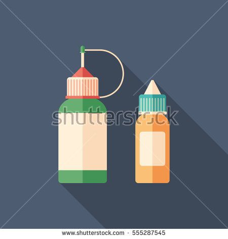 Plastic e-cigarette bottles flat square icon with long shadows. #vape #vaping #flaticons #vectoricons #flatdesign