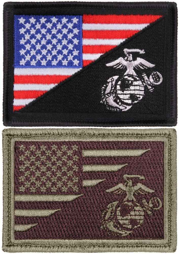 ce5211cdb28fc5 US Flag Marines Patch American Military USMC Globe & Anchor Hook & Loop # Rothco