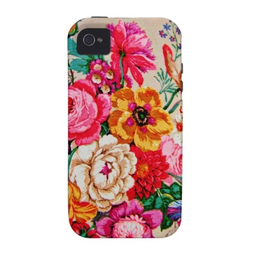 Girly Vintage Spring Flowers Case-Mate iPhone 4 Case
