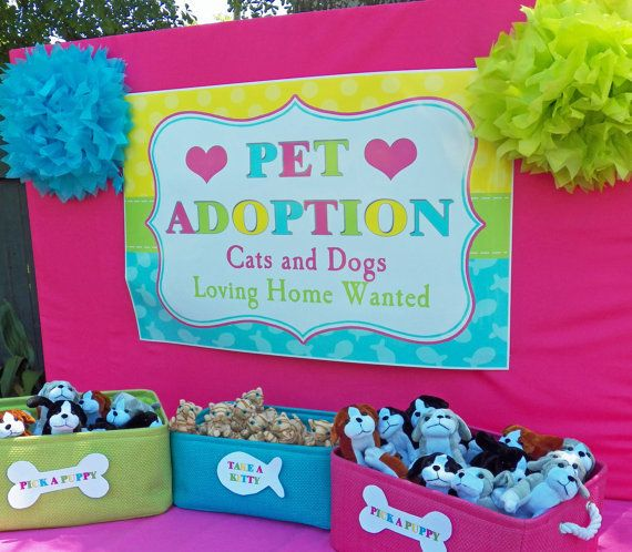 Pet adoption for stuffed animals at a dog and cat birthday party!  See more party ideas at CatchMyParty.com!