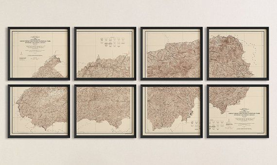 Map of Great Smoky Mountains National Park (1931/1978) - USGS Topographic Map - Set of 8 Prints - Archival Reproduction