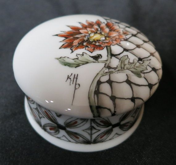 Hand Painted Porcelain China Ring Jewelry Trinket Box - Can be personalized