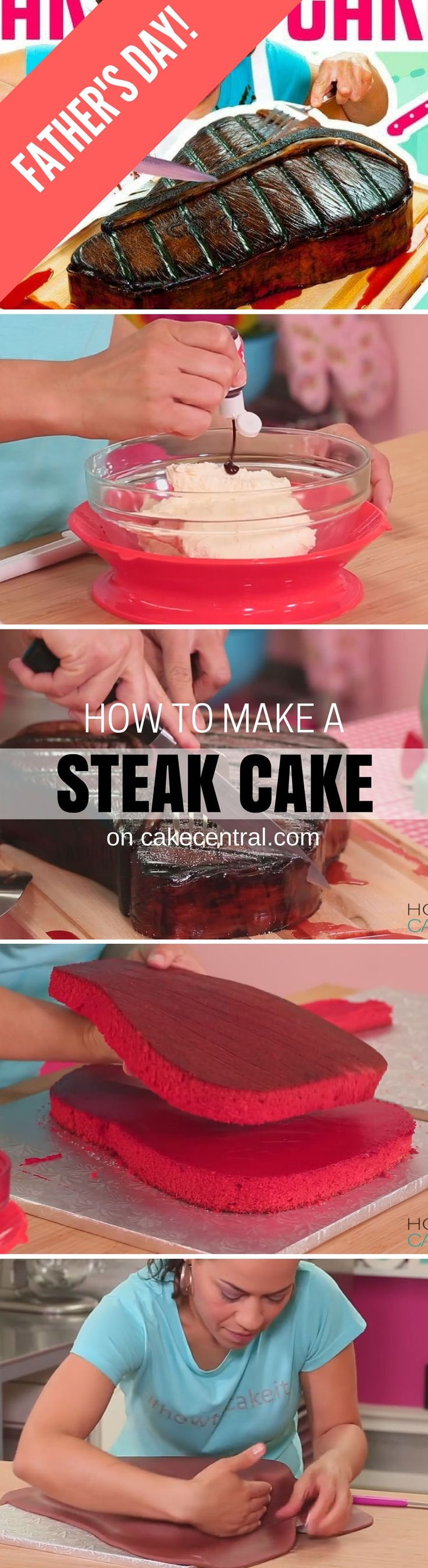 This week, I'm treating my Dad to a giant T-bone steak cake for Father's Day! To make this Steak cake, I whipped up some of my Ultimate Red Velvet Cake, iced it with crimson-dyed Italian Meringue buttercream and added fondant and painted details to make it look so realistic.