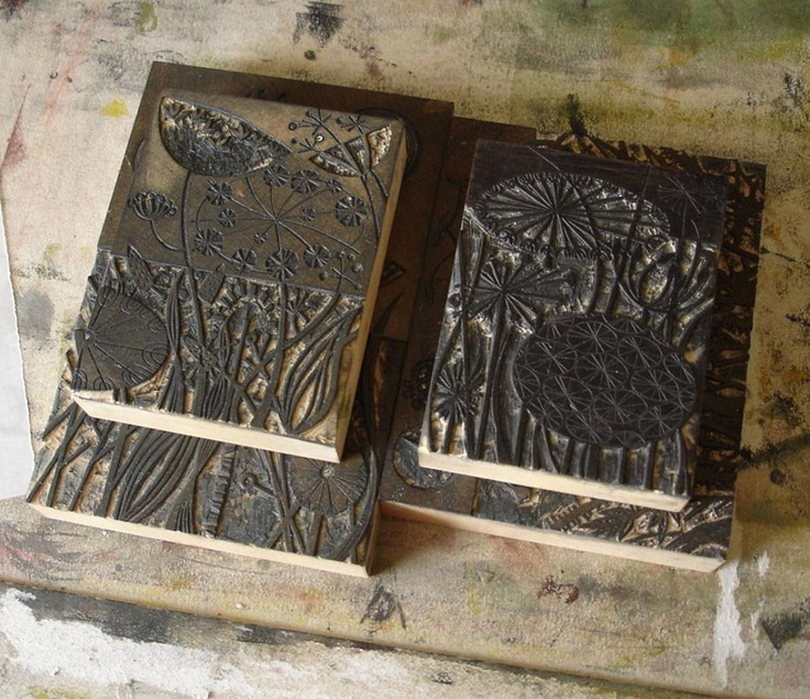 Wood engraving blocks by angie lewin angielewin