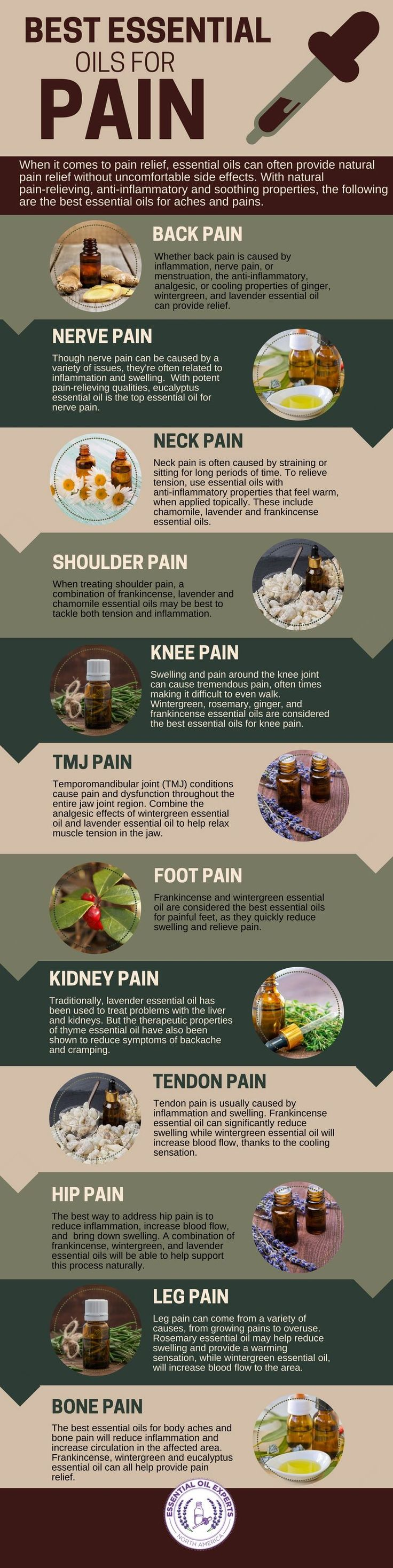 The most effective essential oils for pain including essential oils for back pain, joint pain, neck pain. Article breaks it down further...