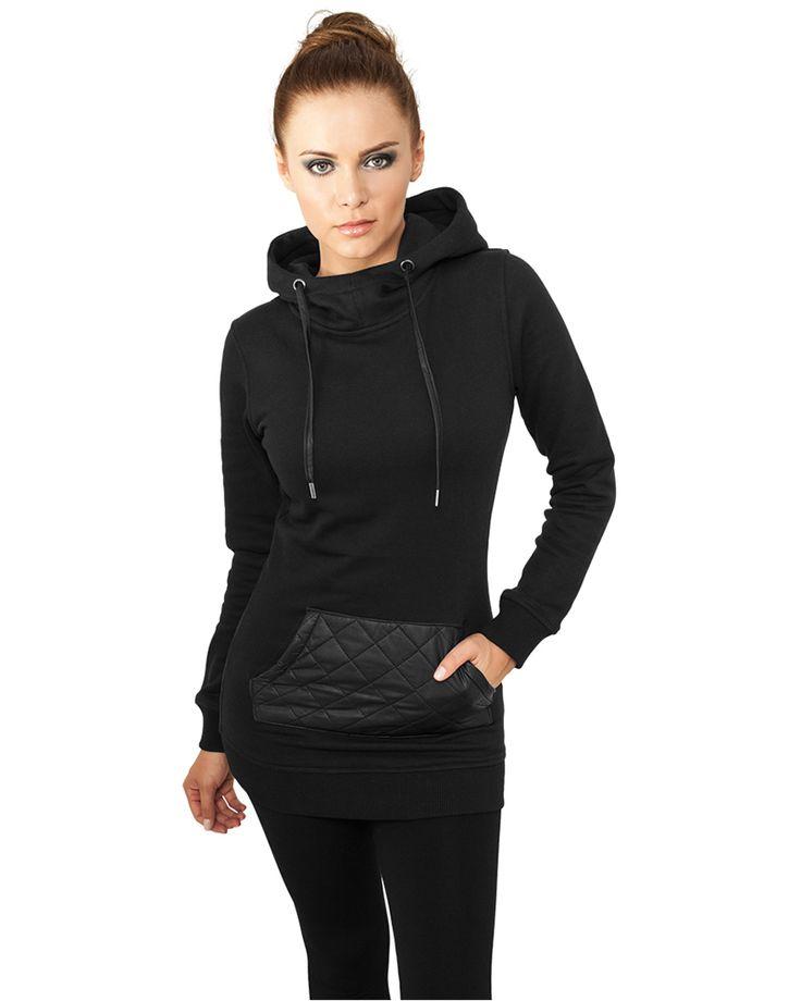Leather Imitation Pocket Hoodie Black