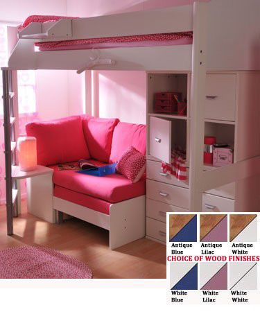 teen girls loft bed with desk | Stompa Casa 6 Kids High Sleeper Bunk Bed Sofa Bed Storage