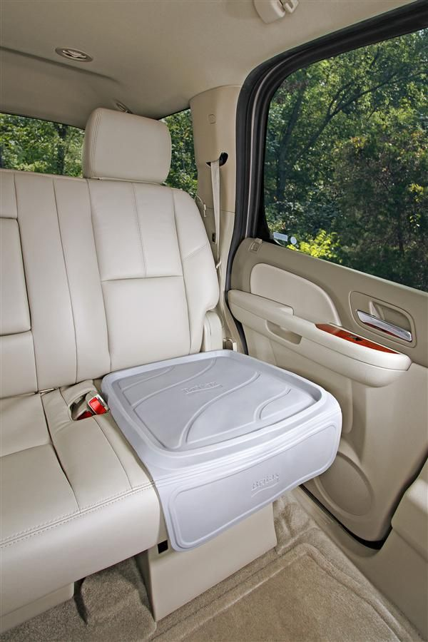 The BRITAX Vehicle Seat Protector protects your vehicle seat from spills, debris and car seat compression and is waterproof and easy to clean!