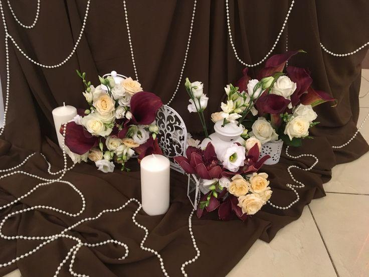 Коричневая свадьба. Президиум и задник. Стол жениха и невесты. Оформление юбки стола
