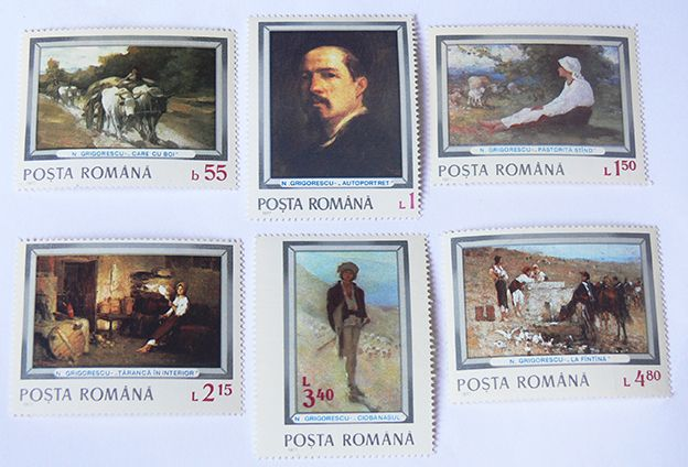 6 Stamps representing paintings of the romanian painter Nicolae Grigorescu. Made in Romania in 1977 (The year is mentioned on the stamp).