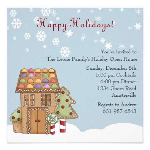 21 best open house invitation wording images on pinterest gingerbread holiday open house invitation stopboris Choice Image